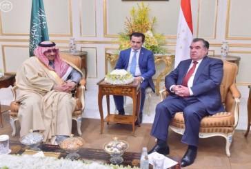 ولي العهد يبحث مع رئيس طاجيكستان سبل تعزيز العلاقات الثنائية بين البلدين