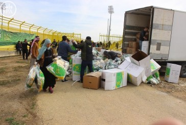 7290 قطعة شتوية متنوعة قدمتها الحملة الوطنية السعودية على اللاجئين السوريين في محافظة المفرق