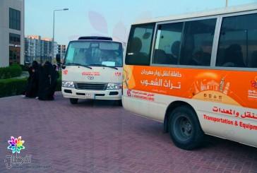بالصور.. مهرجان التراث الشعوب يقدم حافلات للزوار