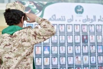 صورة متداولة لابن أحد الشهداء يؤدي التحية العسكرية أمام لوحة لشهداء الوطن