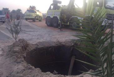 مدني بيشة يباشر سقوط شيول بفتحة «صرف» صحي