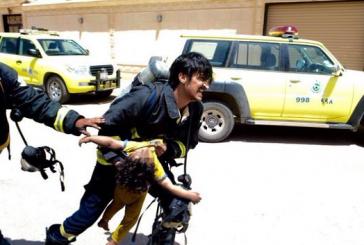 وفاة 3 أطفال اختناقاً وإصابة الأم في حريق منزل برفحاء