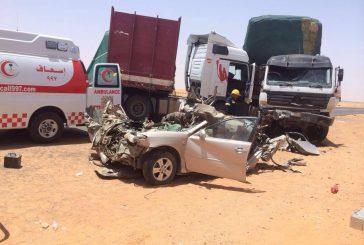 وفاة شخص وإصابة إثنين بحادث شنيع بمشاريع بسيطا بالجوف