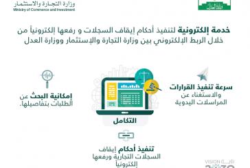 """""""العدل"""" و""""التجارة"""" تدشنان خدمة التكامل الإلكتروني لتنفيذ أحكام إيقاف السجلات ورفعها"""
