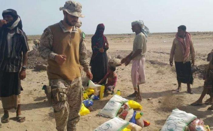 القوات السعودية توزع مؤونة رمضان على قرى فقيرة بعدن