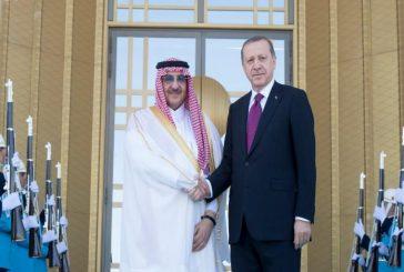 ولي العهد والرئيس التركي يعقدان اجتماعا جرى خلاله استعراض العلاقات بين البلدين