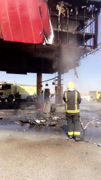 مدني حفرالباطن يسيطر على حريق في محطة وقود