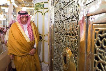 بالصور..نائب خادم الحرمين الشريفين يزور المسجد النبوي