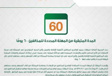 الجوازات : المدة المتبقية من المهلة المحددة للمخالفين (60) يوماً