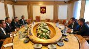 دبلوماسيون في سفارات المملكة والبحرين ومصر والامارات في موسكو يلتقون رئيس لجنة الشؤون الخارجية بمجلس الدوما الروسي
