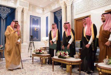 أصحاب السمو الملكي الذين صدرت الأوامر الملكية بتعيينهم يؤدون القسم أمام الملك