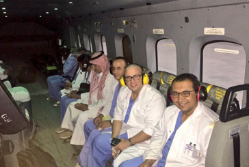 طيران الأمن ينقل طاقمًا مختصًّا بزراعة الأعضاء في مكة المكرمة