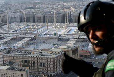 بالصور ..طيران الأمن في سماء المدينة المنورة