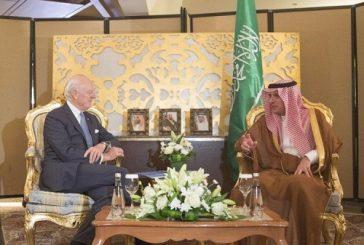 الجبير يبحث المستجدات السورية مع المبعوث الأممي