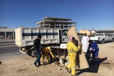 بلدية شمال الرياض تزيل ٨ أكشاك مخالفة على طريق القصيم