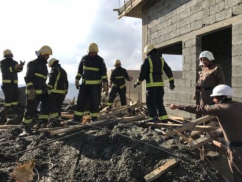 """الباحة ..6 إصابات في انهيار سقف خرساني """"تحت الإنشاء"""""""