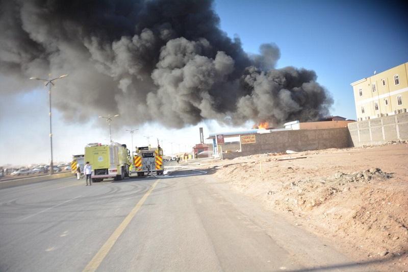 عملية صيانة تتسبب في نشوب حريق في محطة بتبوك