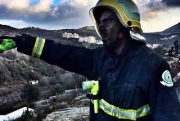 9 فرق من دفاع مدني تسيطر على حريق قرية الهتافرة