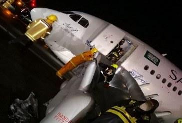 لحظة هبوط طائرة اضطرارياً بدون عجلات في مطار جدة