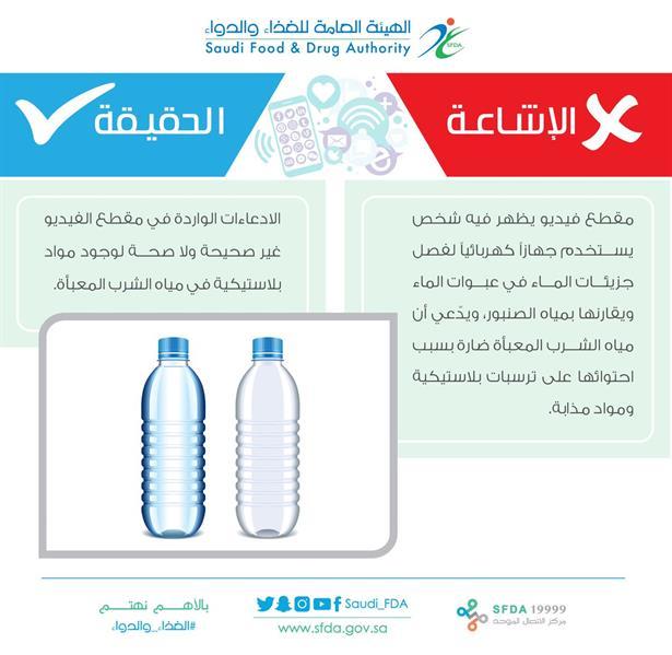"""""""الغذاء والدواء"""" ترد على فيديو متداول حول وجود مواد بلاستيكية في مياه الشرب المعبأة"""