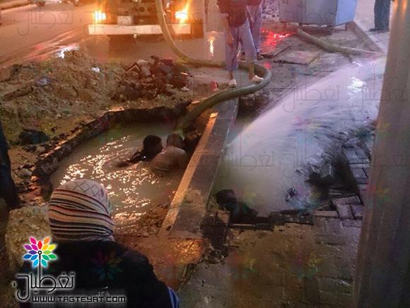 انفجار أنبوب مياه بشارع الجبل بالجبيل